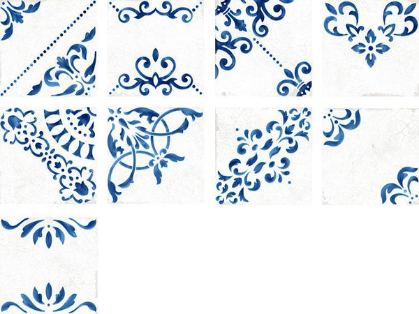WOW Floor Tiles, Blanc et Bleu Collection, Antique Decor Mix Tiles Wow Designs Blanc
