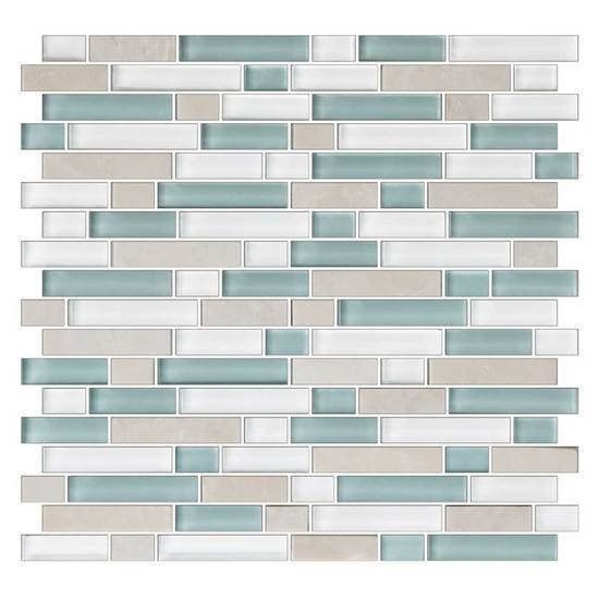 American Olean Glass & Natural Stone Random Mosaic Tile, Color Appeal Collection, Multi-Color, 12x12