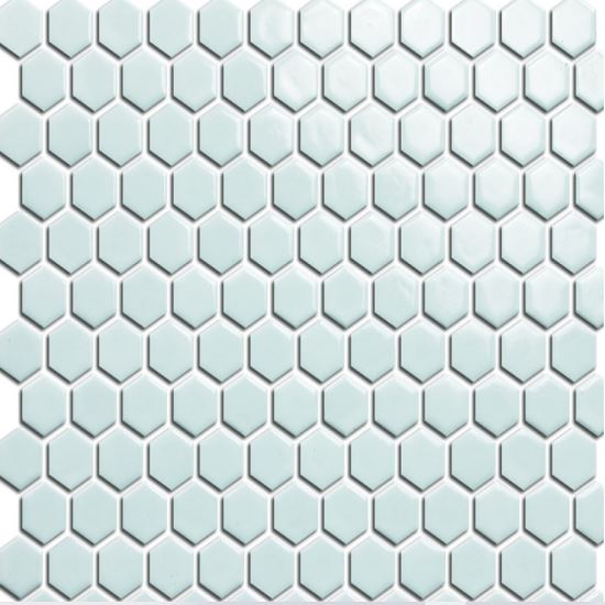 Elysium Tiles, Handmade Porcelain Mosaic, White Hexagon, Multi-color
