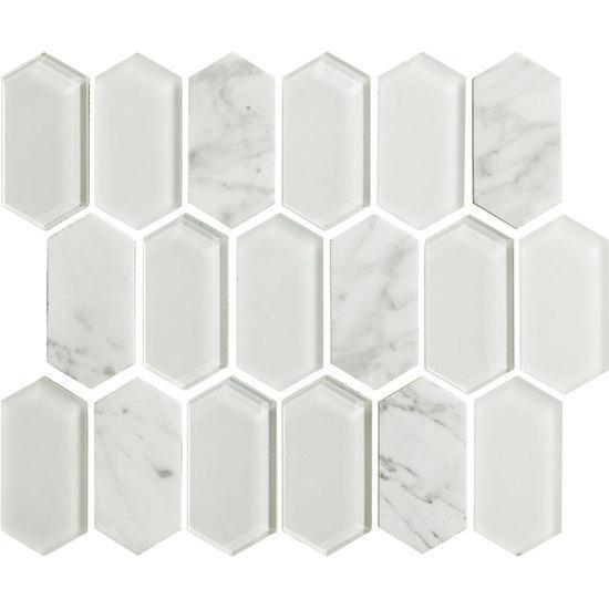 American Olean Linear Hexagon Glass & Stone Mosaic Tile, Alair Collection, Multi-Color, 10x12