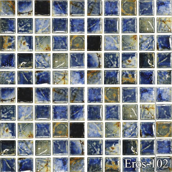 "Fujiwa Pool Tiles, Eros 100 Series, Multi-color, 1"" x 1"""