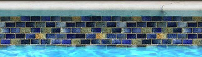Fujiwa Pool Tiles, Glasstel Series, Multi-color, 7/8 X 1-7/8
