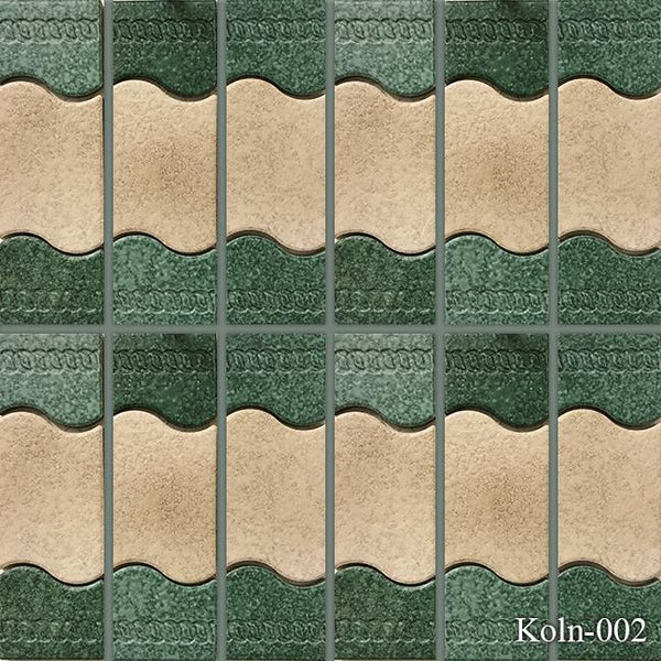 "Fujiwa Pool Tiles, Koln Series, Multi-color, 2"" x 6"""