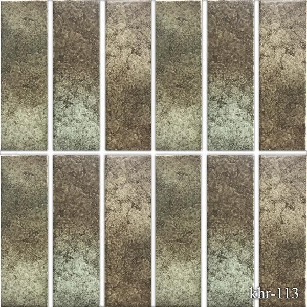 "Fujiwa Pool Tiles, KHR Series, Nature Brown, 2"" x 6"""