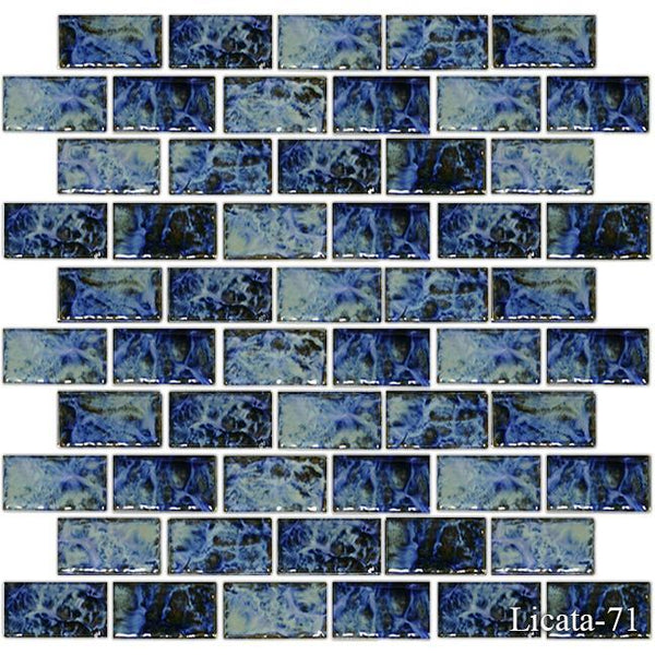 "Fujiwa Pool Tiles, Licata Series, Multi-color, 1"" x 2"""