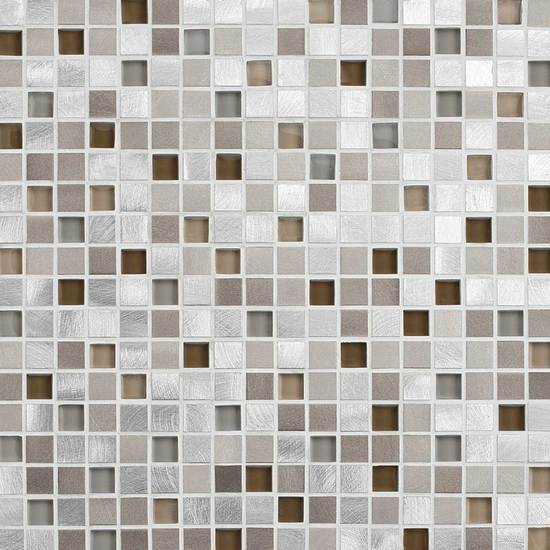 American Olean Glass & Aluminum Mosaic Tile, Morello Collection, Multi-Color, 12x12