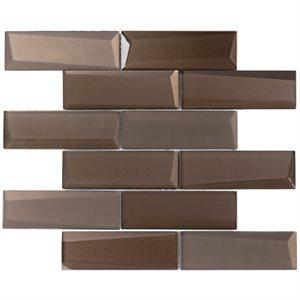 Soho Studio Glass Tile, Newbev Bricks, Multi-color, 12x13 Tiles Soho Studio Bronze