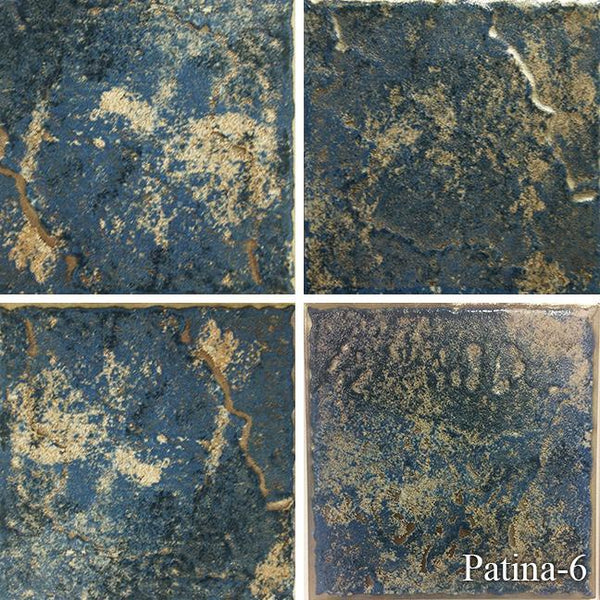 "Fujiwa Pool Tiles, Patina Series, Multi-color, 6"" x 6"""