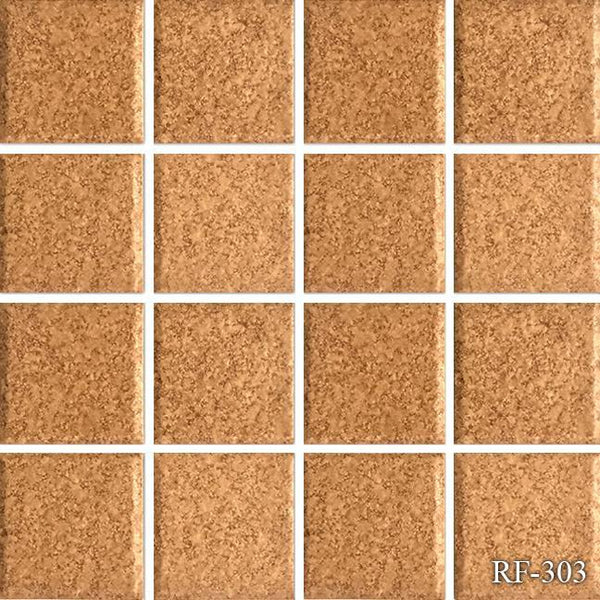 "Fujiwa Pool Tiles, Rheef Series, RF-303 (Sandy Red), 3"" x 3"""