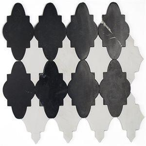 Soho Studio WaterJet Tiles, Mj Sabino, Multi-Color, 12x11 Tiles Soho Studio Nero Marquina & Asian Statuary