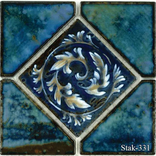 "Fujiwa Pool Tiles, Stak Deco Series, Multi-color, 6"" x 6"""