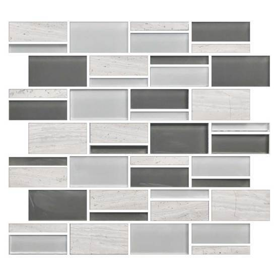 American Olean Glass & Natural Stone Random Mosaic Tile, Color Appeal Collection, Multi-Color, 13x12