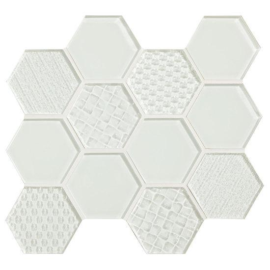 American Olean Hexagonal Multi-Structured Glass Mosaic Tile, Felicity Collection, Multi-Color, 9x10