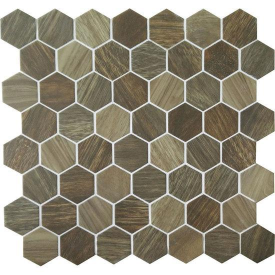 American Olean Hexagonal Glass Mosaic Tile, Crosswood Collection, Multi-Color, 11x12