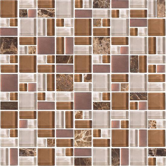 American Olean Block Random Glass & Stone Mosaic Tile, Fortify Collection, Multi-Color, 12x12