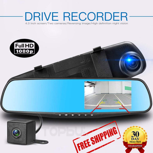 Full DH 1080P Dual Lens Rear View Reverse Mirror Backup Car Camera- Night Vision