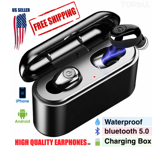 Waterproof Wireless Earphones Deep Bass Headphones 5D Stereo with Charger Box