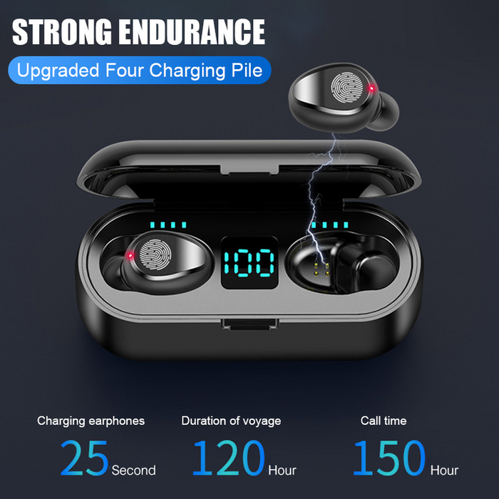 F9 TWS Sport Waterproof Bluetooth Earphones Battery LED Display with Charging Box