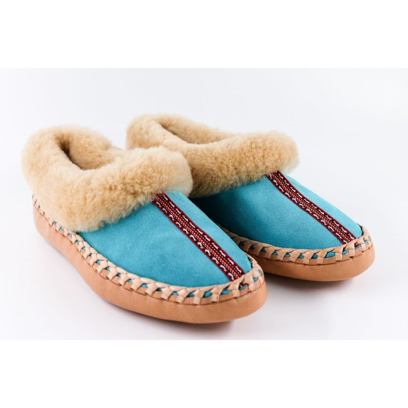 Blue sheepskin slippers with accent stripe, handmade using 100% premium quality European sheepskin and leather.
