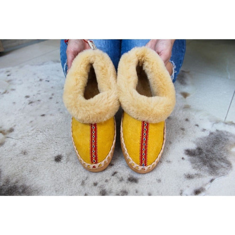Yellow sheepskin slippers with ethno stripe, handmade using 100% premium quality European sheepskin and leather.