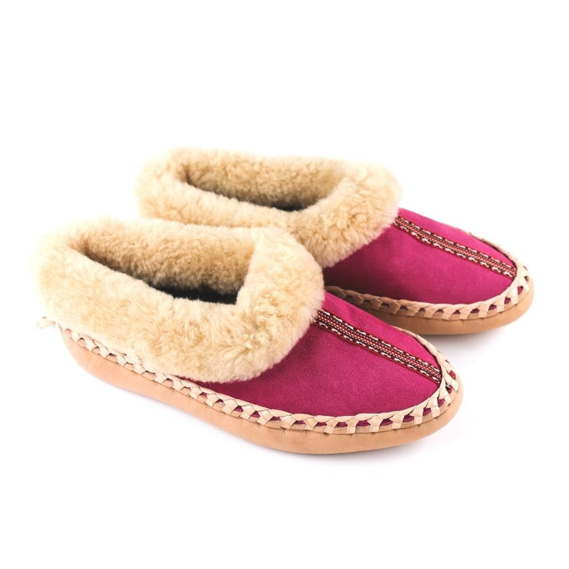 Pink sheepskin slippers with ethno accent stripe, handmade using 100% premium quality European sheepskin and leather.