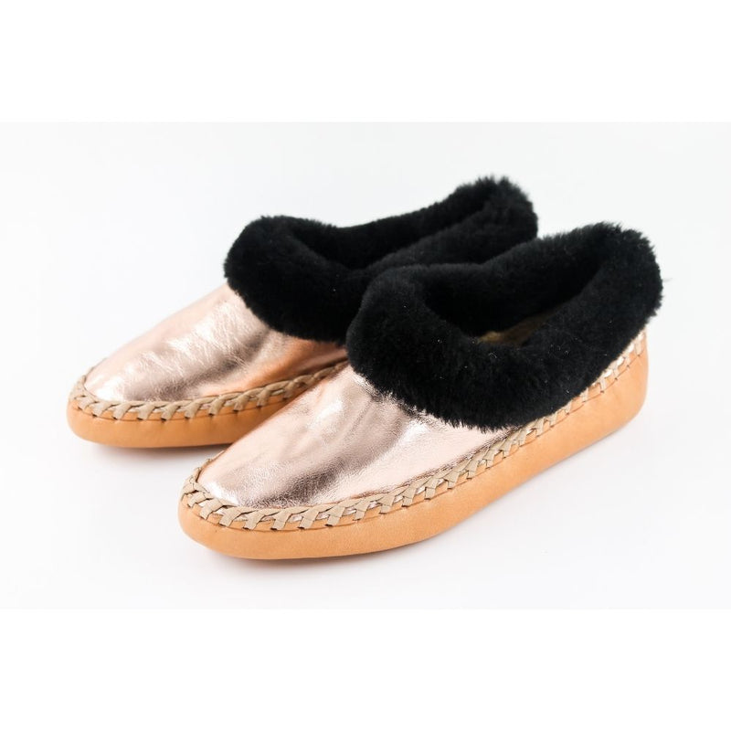 Rose Gold sheepskin slippers with black fur, handmade using 100% premium quality European sheepskin and leather.
