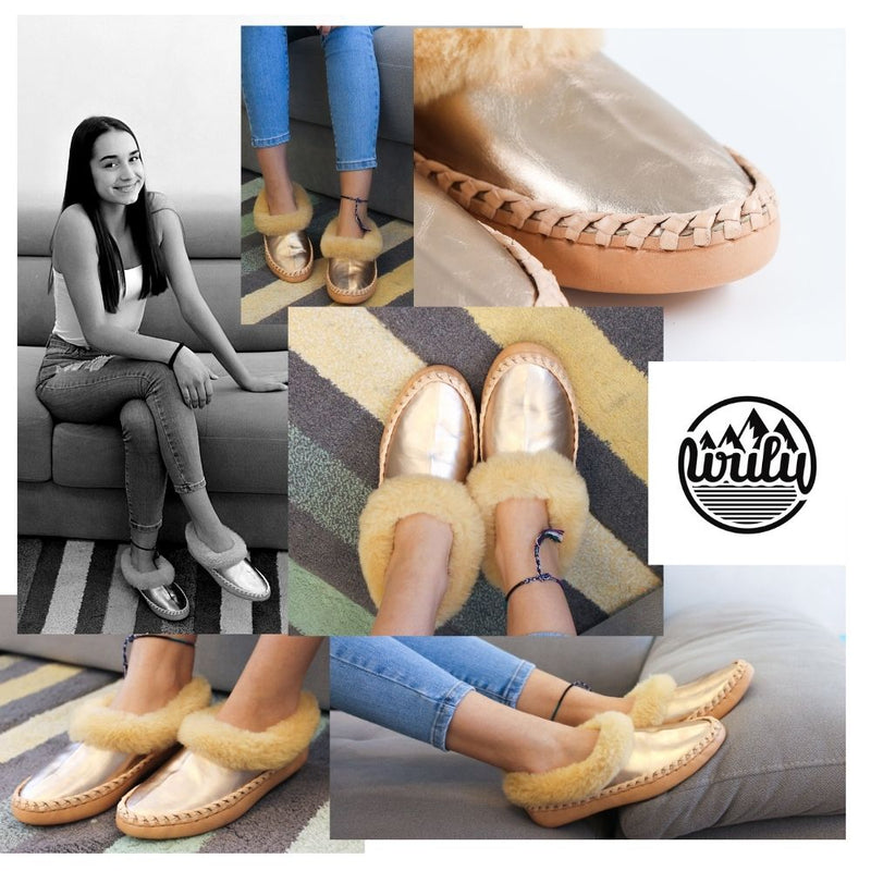 Gold sheepskin slippers, handmade using 100 premium quality European sheepskin and leather.
