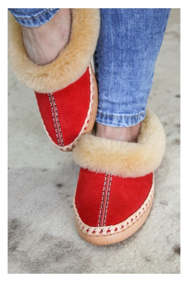 Red Sheepskin Slippers