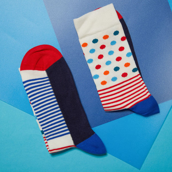 Chaussettes pour homme Pois Rayures bleues