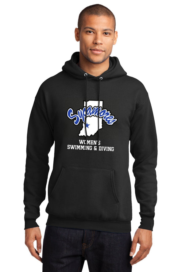 Port & Company® Sycamores Women's Swimming & Diving Essential Fleece Hooded Sweatshirt