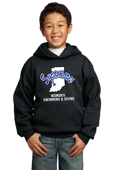 Port & Company® Youth Sycamores Women's Swimming & Diving Core Fleece Hooded Sweatshirt
