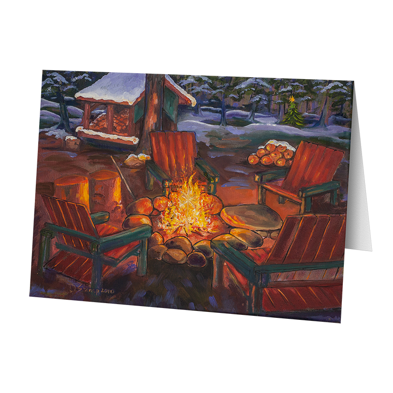 Camp Christmas Card- Christmas Campfire (5 Cards)