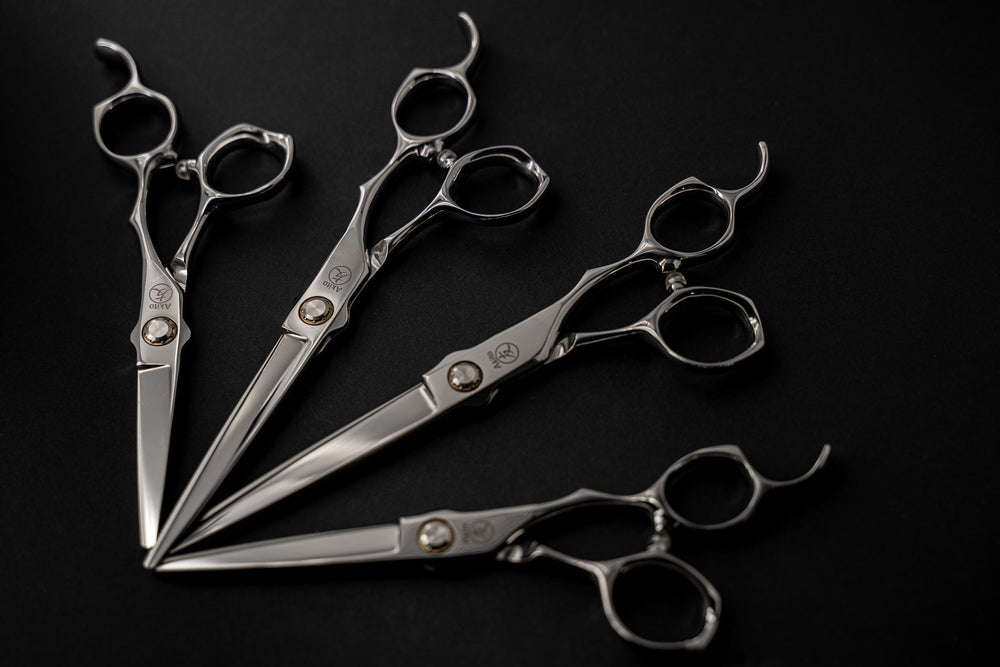 Akito Kasai Scissors in multiple sizes on black background
