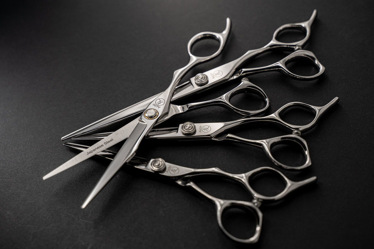 Multiple Katana and Sphere Hair Cutting Scissors on Black background