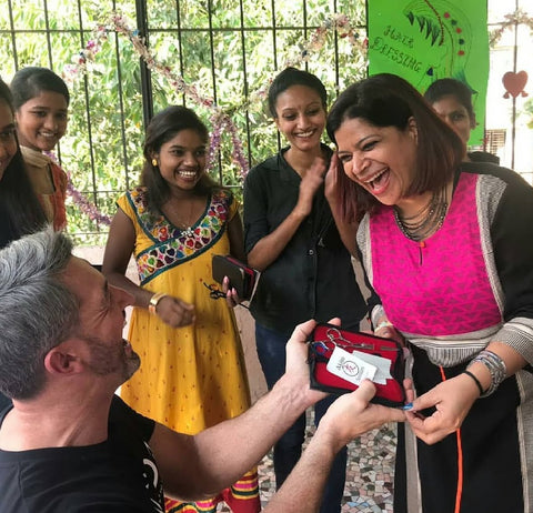 Mumbai Hair Project student receiving hair scissors