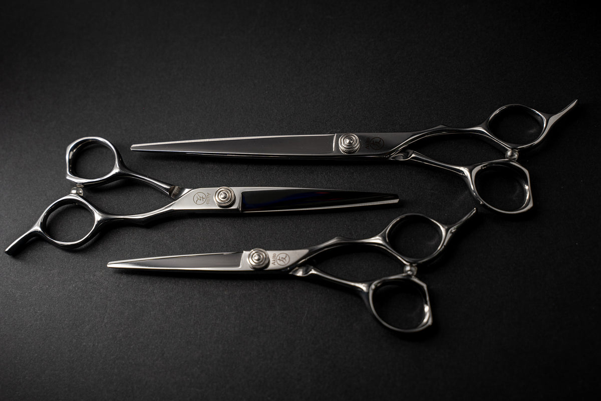 Sphere hair cutting scissors on black