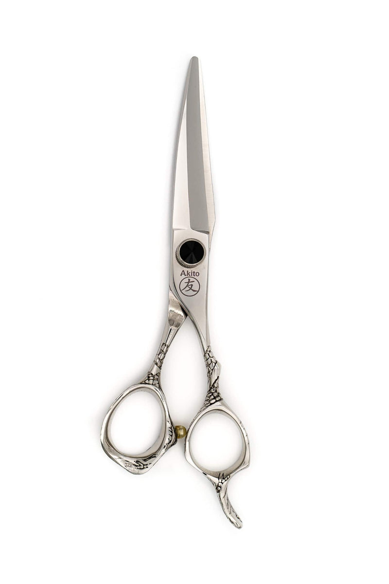 Silver Akito Edge Hairdressing and Barber Scissors handmade from Japanese Steel on white background