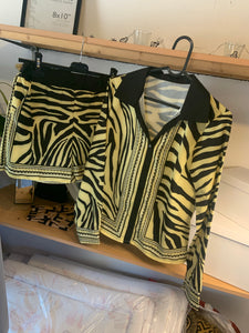 Zebra print shirt shorts set