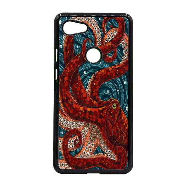 Red Octopus Mosaic Art Google Pixel 3 Case - Sixtyninecase