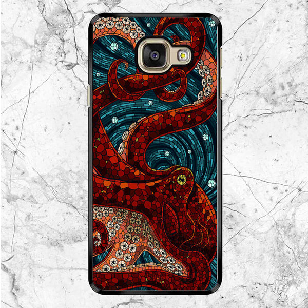 Red Octopus Paper Mosaic Art Samsung Galaxy A9 Pro Case