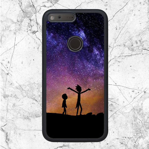 pretty nice dbc43 6b6fa Rick And Morty Silhouette Galaxy Google Pixel Case   Sixtyninecase