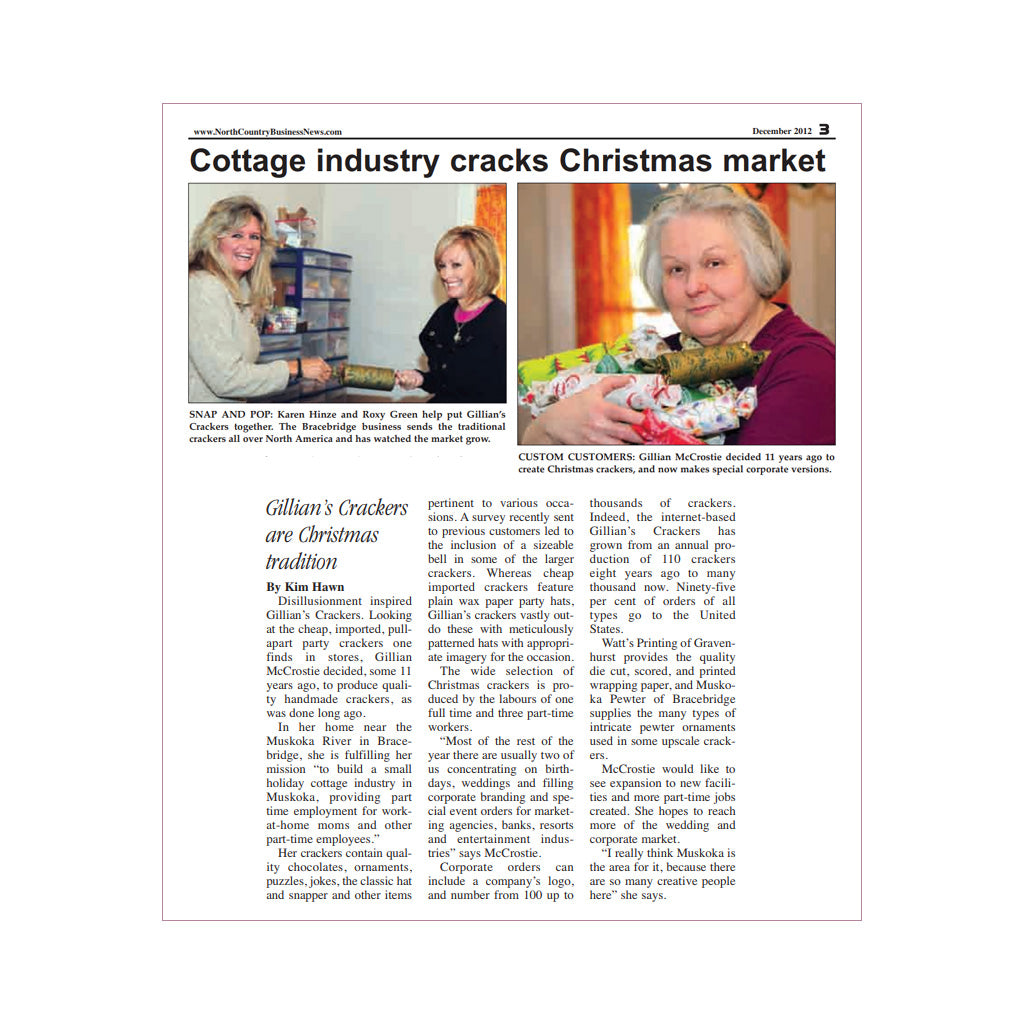 Press article about Elves Best Christmas Crackers - North Country Business, Dec 2012