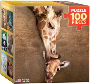 "Mini Jigsaw Puzzle | ""Giraffe Mother's Kiss"""