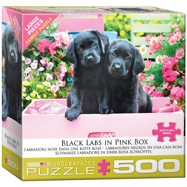 "Jigsaw Puzzle | ""Black Labs in a Pink Box"""