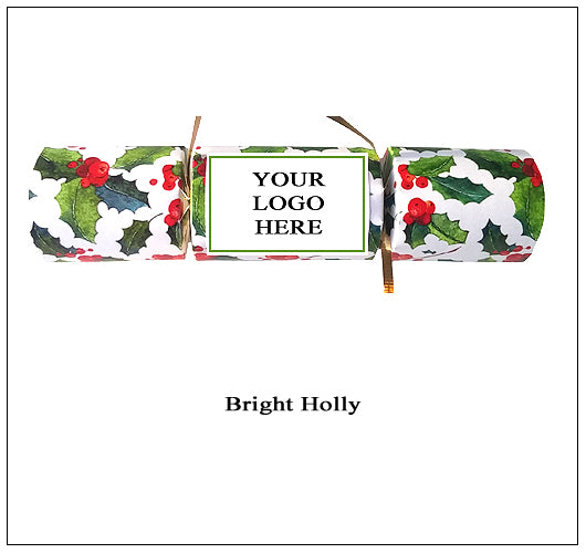 "Branded Corporate Christmas Crackers for parties - ""Bright Holly"" design"