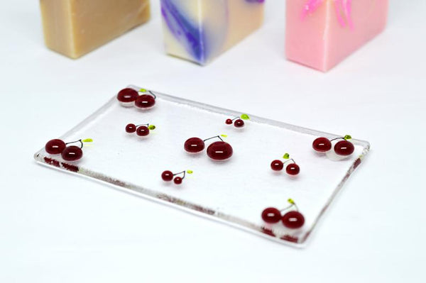 "Fused Glass Soap Dish | ""Cherries"""