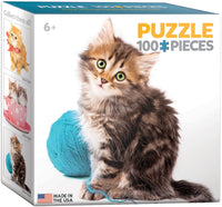"Mini Jigsaw Puzzle | ""Cat with Wool"" - Stocking Stuffer"