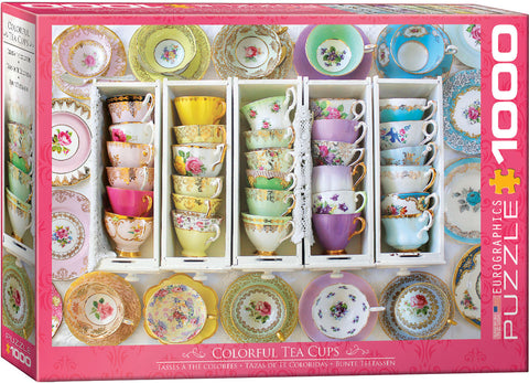 "Jigsaw Puzzle | ""Colourful Tea Cups"""