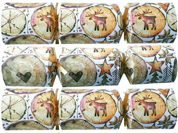 Family Party Crackers with Painted Wood Dominoes - Nature Scenes