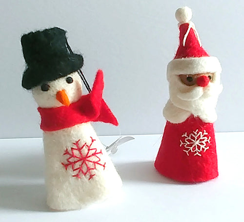 Felted Christmas tree decor - snowman and santa